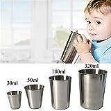 HUVE Taza de Acero Inoxidable, Vasos Copas de Metal Tumbler Apilables Premium de BPA sin Plomo [Paquete de 2] (320ml)
