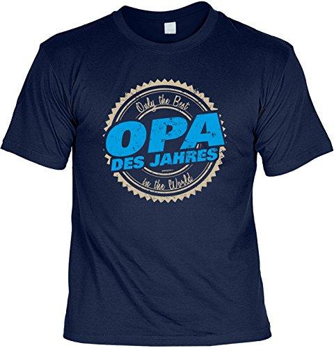 T-Shirt - Opa des Jahres - Best in the World - cooles Shirt mit lustigem Spruch als Geschenk zum Vatertag Navyblau