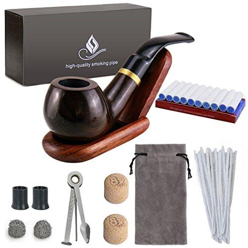 Juego de pipas para fumar tabaco de madera - Joyoldelf Pipa para fumar doblado de ébano con soporte para pipa, accesorios para fumar y envuelto con caja de regalo