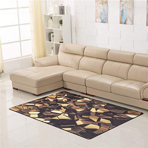 S&RL 3D Teppich/Wohnzimmer Sofa Couchtisch Matte/Schlafzimmer Nacht Teppich/Erker Balkon rechteckigen Teppich,160cm * 230cm,Gold - Gold-rechteckiger Teppich