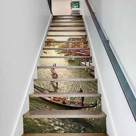 Buluke Kreative Heimwerker 3D Treppe Aufkleber Grand Canal Muster für Haus Treppen Einrichtung