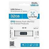 XLYNE PRO OTG 32 GB USB 3.0 Stick für PC (USB) und Smartphones/ Tablets (microUSB) – Lesegeschwindigkeit: Bis zu 30 MB/s, Schreibgeschwindigkeit: Bis zu 10 MB/s