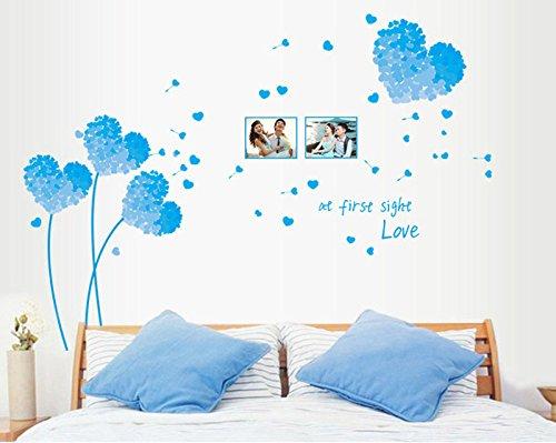 Winhappyhome blu amore fiore adesivi autoadesivo smontabile della parete di modo da letto soggiorno cafe sfondo sfondo home decor glass decalcomanie