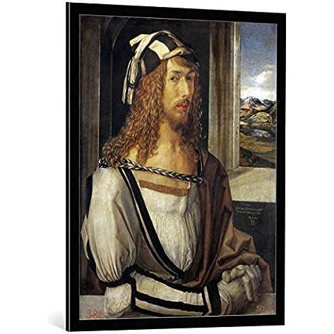 """Quadro con cornice: Albrecht Dürer """"Self portrait"""" - stampa artistica decorativa, cornice di alta qualità, 75x95 cm, nero / angolo grigio"""