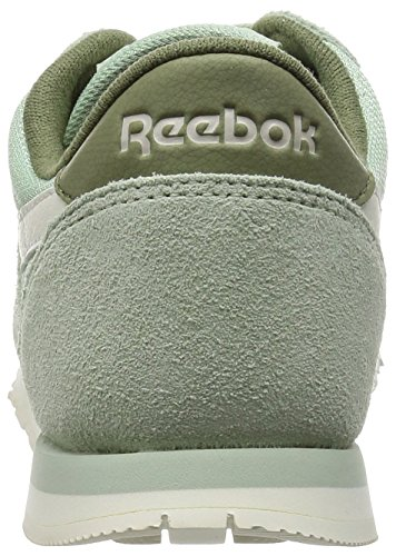 Reebok CL Nylon Slim Core, Chaussures de Running Compétition Femme Gris / Verde / Blanco (Sage Mist / Canopy Green / Chalk)
