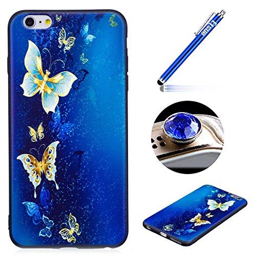 iPhone 5/5S/SE Coque, Etsue pour iPhone 5/5S/SE Vogue Gel Housse étui de Téléphone Mobile ,TPU Silicone Matériau Transparente Ultra Mince Supérieur Semi Transparent Doux Coque avec coloré Motif pour i * Papillon Bleu