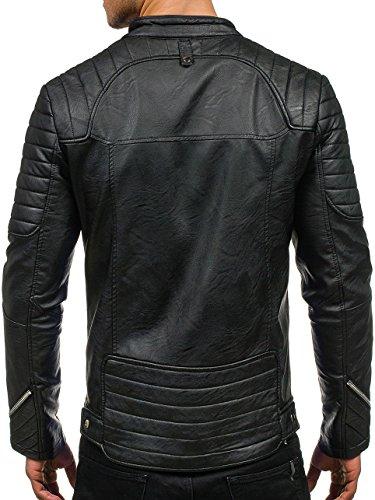 BOLF – Veste sans capuche – Faux cuir – Fermeture éclair – Homme [4D4] Noir
