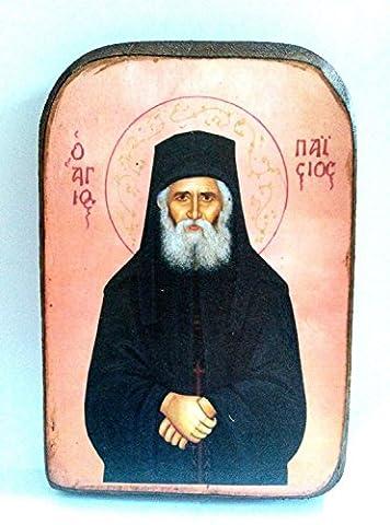 Handmade Wooden Greek Orthodox Wood Icon of Saint Elder Paisios