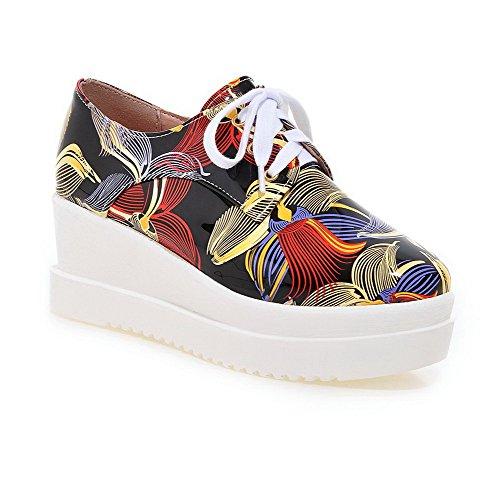 Senhoras Voguezone009 Rendas Bombas De Salto Médio Cor Misturada Quadrado Toe Sapatos Vermelhos