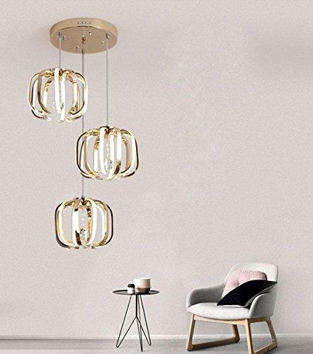 Moderne einfache LED Pendelleuchte/Aluminium, Acryl Kunst Decke/Kürbis 3 Lichter Kristall Pendelleuchten/Golden Wohnzimmer Hängende Beleuchtung/Esszimmer Licht/Schlafzimmer Lampe -