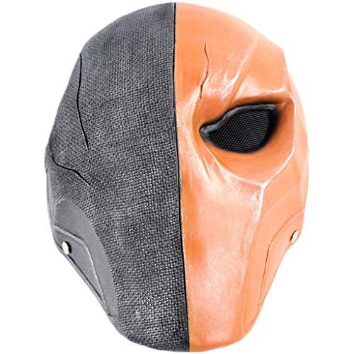 Terminator Halloween Kostüm - QWEASZER Terminator Deathstroke Mask Halloween Ritter Maske Cosplay Kostüm Erwachsene Männer Harz Gesicht Helm Kostüm Film Karneval Kostüm Zubehör,Orange-OneSize