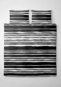 1 tlg. etérea Microfaser Bettwäsche Carola Streifen Gestreift Schwarz Weiß, 40x80 cm extra Kissenbezug