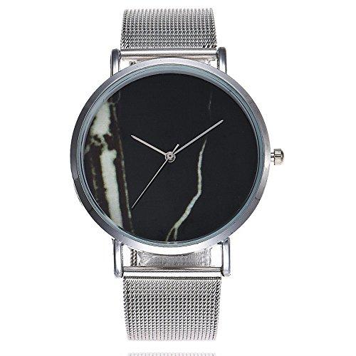 Damenuhren,Weant Damen Armbanduhr Mode Schöne Stahlband Uhrenarmband Marmor Gürtel Uhren Quarz Analog Armbanduhr Kleid Uhren Armbanduhren Damen Silber Uhr (Schwarz)