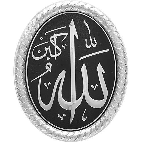 """Islamische Geschenk Acryl Decor Oval Plaque 7–3/8x 9–1/10,2cm Silber und Schwarz """"Allah"""