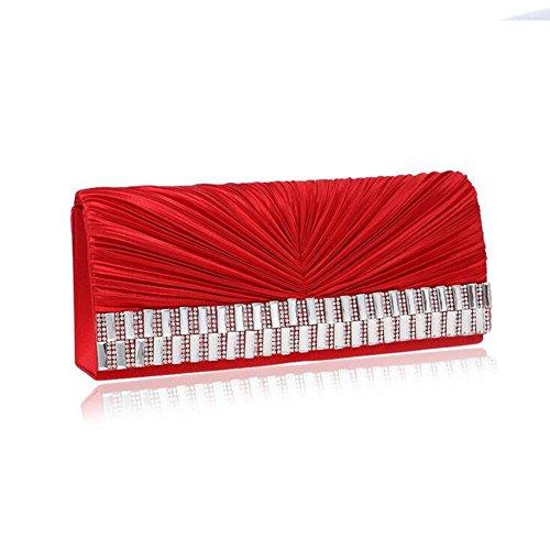 NAOMIIII Damen Plissee Sparkly Party Braut Prom Handtasche Red