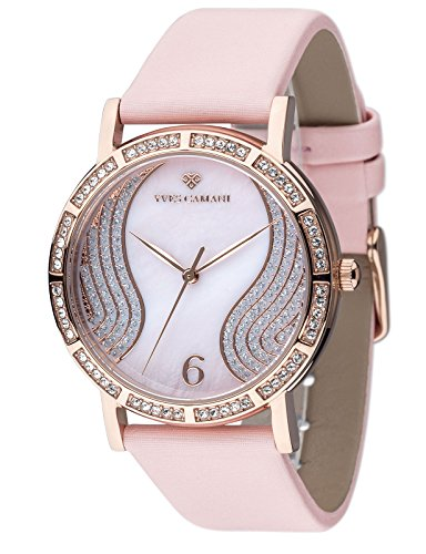 Yves Camani Mademoiselle Elegant Ladies Watch with Mother of Pearl Dial and 60 Cubic Zirconia Diamond Studded Case and Genuine Leather Strap