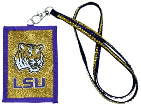 NCAA LSU Tigers Beaded Lanyard with Nylon Wallet