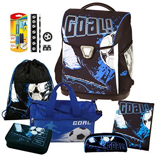 Goal - Fußball Soccer - Schulranzen-Set TOOLBAG Basic Schneiders 8tlg. mit Sporttasche, SCHREIBLERNFÜLLER, SCHREIBSET 4tlg. und HEFTMAPPE - Gratis dazu! (Wert 19,95€) - 78031-070