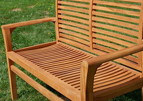 TEAK Design Gartenbank Parkbank Sitzbank 2-Sitzer Bank Gartenmöbel Holz sehr robust Modell: ALPEN120 von AS-S - 2