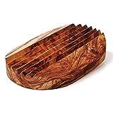 Das Olivenholzbrett Seifenablage, Seifenschale geriffelt, oval 13cm x 9cm