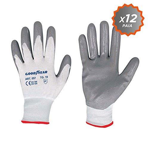 guanti da lavoro goodyear Confezione da 12 guanti da giardino a filo continuo elasticizzato Goodyear con palmo ricoperto in nitrile taglia 10