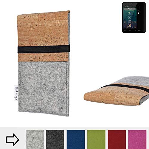 flat.design Handy Hülle SAGRES für Allview P42 handgefertigte Handytasche Filz Tasche Schutz Case fair Kork