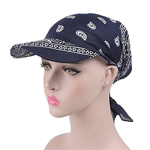 ZYCC Sommer-Damen-Sonne-Hut-Visier-Kappe Chemo Krebs-Kopf-Schal-Hut Faltender Anti-UV Golf-Tennis-Hut (Marine) (Damen Sonne Hut)