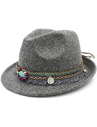 GR Bohemia Ribbon For Elegant Lady Jazz Church Sombrero de Padrino Sombrero  Caps Mujeres de Lana 97552b21098