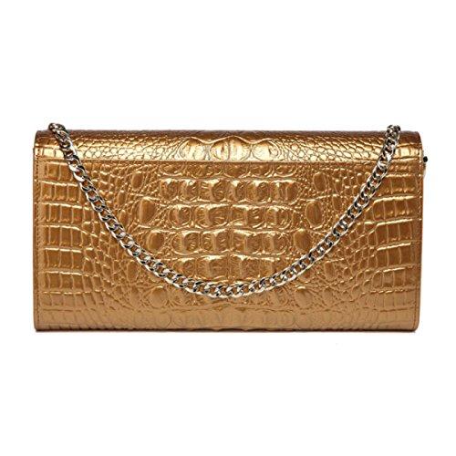 Womens Clutch Taschen Krokodil Muster Leder Handtasche Schulter Abendessen Tasche,Blue Gold