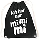 vanVerden Sport Turnbeutel Ich hör nur mimimi Mi Mi Mi inkl. Geschenkkarte, Farbe:Black (Schwarz)