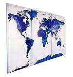 Close Up Weltkarte Saphire Blau - Triptychon- 3 tlg. Leinwand - 120 x 80 cm (3X je 80 x 40 cm) - Blau/weiß