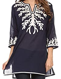Sakkas Gyan Tunic Blouse Shirt With Long Sleeves and Emrboidery Details