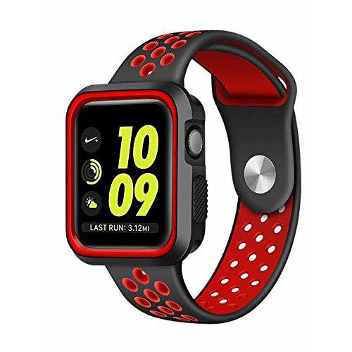 Preisvergleich Produktbild LEEHUR- Apple Watch Armband 38mm, Serie 1/2 Sport Armbanduhr Silikonarmband Ersatzarmband Armband für Apple iWatch / Apple Uhr Nike + (38mm, Rot&Schwarz)