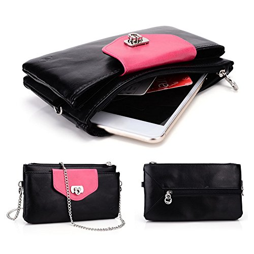 Kroo cellulaires des mitón cas Convient pour carte 5A Titulaire 15,24cm pour Archos/Blackberry/Blu/Google/HTC multicolore bleu Black Hot Pink