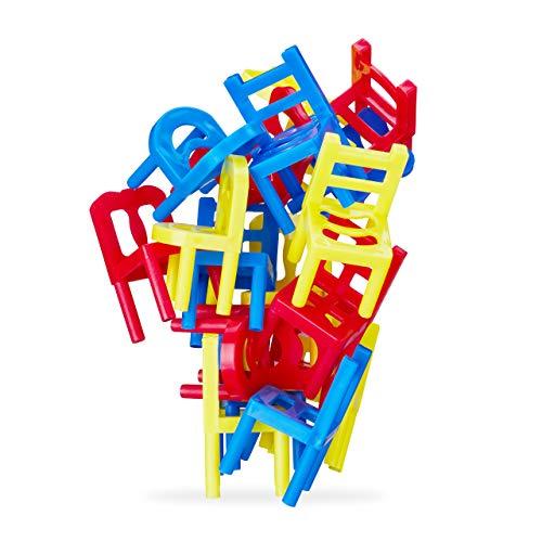 Relaxdays Stühle Stapeln Spiel, Geschicklichkeitsspiel für die ganze Familie, 18 teiliges Set, Stapelstuhl Spiel, bunt