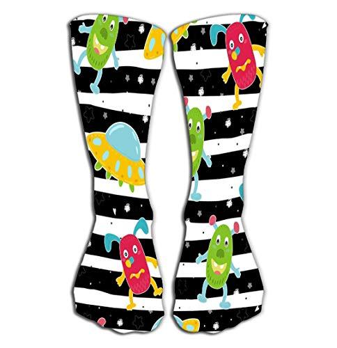 Xunulyn Hohe Socken Outdoor Sports Men Women High Socks Stocking Cute Hand Drawn Monsters Cartoon Style Pattern Cute Monsters Cartoon Style Pattern Cool Tile Length 19.7