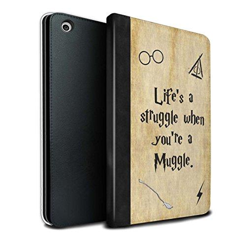 Stuff4® PU-Leder Hülle/Case/Brieftasche für Apple iPad Mini 1/2/3 Tablet/Life's a Struggle Muster/Schule der Magie Film Zitate Kollektion (Ipad Mini Film-zitate)