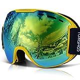 TOMSHOO Maschera da Sci, Occhiali Sci da Snowboard, Super-Grandangolo Lente Sferica a Doppia Strato Anti-UV Antinebbia Antivento per Amanti dello Sci, Sport Invernali, Adulti Bambini