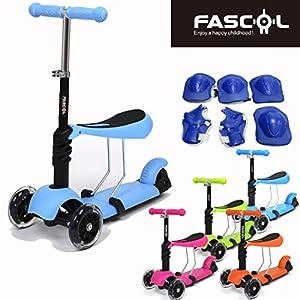 Fascol® Multifunzione Per bambini Monopattino Scooter e Regolabile Altezze Manubrio 49-63-71cm, Per bambini Favorito Giocattolo,Blu