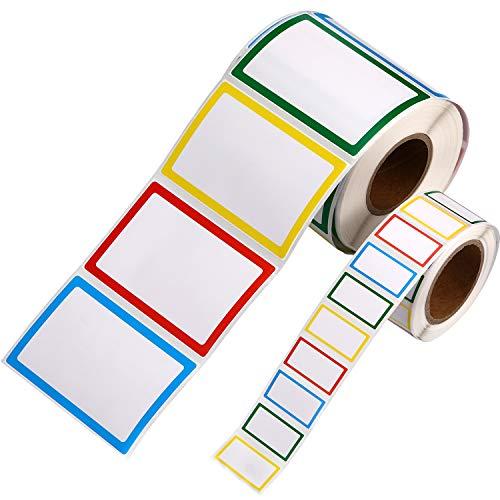 1000 Stücke Namensschild Aufkleber Selbstklebende Name Etiketten für Gläser Flaschen Kinder Kleidung Party und Schule, 4 Farben, 2 Größen