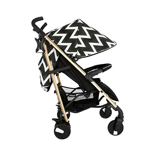 My Babiie MB51 Gold Chevron Stroller My Babiie Suitable from birth to maximum 15kg Extendable 3 position canopy Lockable swivel front wheels 1