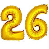 DekoRex® Folienballon Zahlenballon Luftballon Geburtstag Deko 40cm Gold Zahl: 26