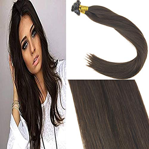 Sunny 55cm hot fusiono flat tips extension marrone #4 brasiliana keratina capelli veri cheratina 50 grammo extension capelli pre bonded