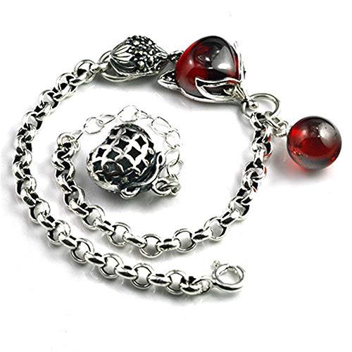 Zhwjh braccialetto di volpe rossa melograno vintage s925 gioielli donna in argento sterling regalo di compleanno di san valentino