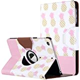 ULAK iPad Mini Case for iPad Mini 3/2/1, Lightweight Synthetic Leather Rotating Stand Protective Case Smart Cover with Multi Angle Viewing for Apple iPad Mini, Mini 2, Mini 3(Pink/pineapple)