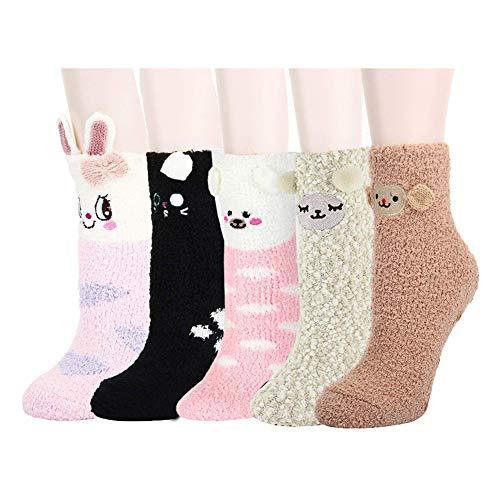 Z-Chen 5 Paire de Chaussettes Pantoufles Thermiques Hiver Motif Animaux Enfant Fille Garçon 3 à 8 Ans, Set B