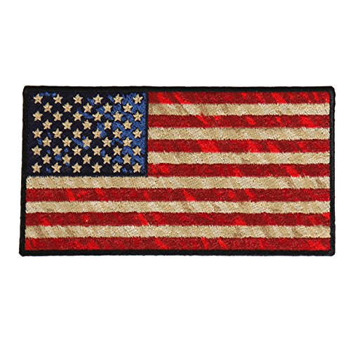 DISTRESSED AMERICAN FLAG, High Thread Iron-On / Saw-On Rayon PATCH