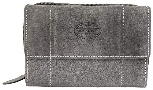 Akzent Damen Geldbörse aus Echtleder Grau Format 14 x 9 cm