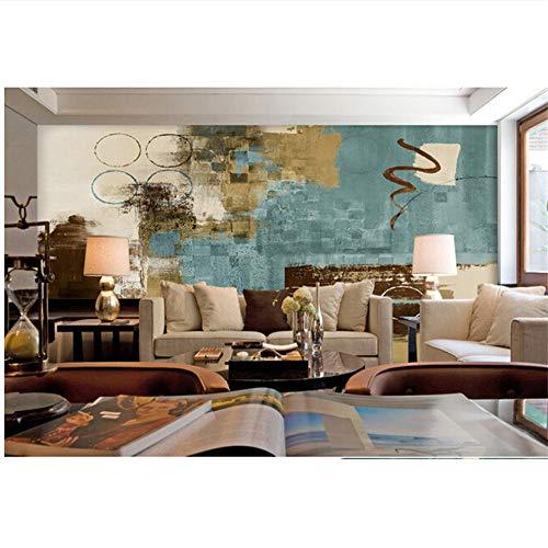 Lovemq Hd 3D Benutzerdefinierte 3D Großes Wandbild, Abstrakte Blaue Quadrat Patch Collage Gemälde Papel De Parede, Wohnzimmer Tv Wand Schlafzimmer Tapete-400X280Cm -