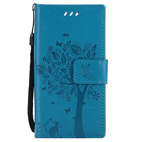 Chreey Huawei Mate 10 Pro Hülle, Prägung [Katze Baum] Muster PU Leder Hülle Flip Case Wallet Cover mit Kartenschlitz Handyhülle Etui Schutztasche [Blau]